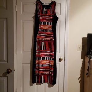 Printed front / solid back maxi dress